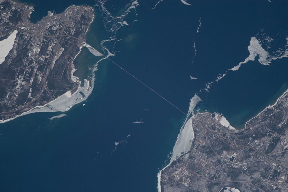 International Space Station crew shares overhead view of Mackinac Bridge