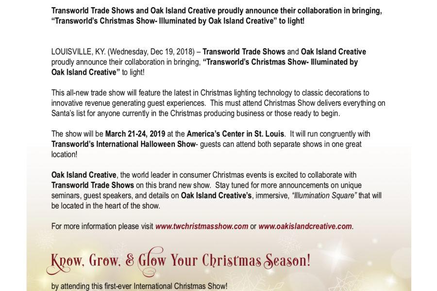 Transworld's Christmas Show illuminated by Oak Island Creative